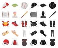 Bande dessinée de base-ball et d'attributs, icônes noires dans la collection réglée pour la conception r illustration de vecteur
