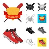 Bande dessinée de base-ball et d'attributs, noir, plat, monochrome, icônes d'ensemble dans la collection d'ensemble pour la conce illustration stock