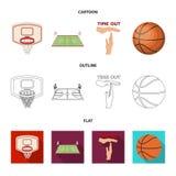 Bande dessinée de basket-ball et d'attributs, contour, icônes plates dans la collection d'ensemble pour la conception Vecteur de  illustration stock