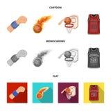 Bande dessinée de basket-ball et d'attributs, icônes plates et monochromes dans la collection d'ensemble pour la conception Joueu illustration libre de droits