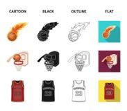 Bande dessinée de basket-ball et d'attributs, noir, contour, icônes plates dans la collection d'ensemble pour la conception Joueu illustration stock
