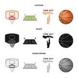 Bande dessinée de basket-ball et d'attributs, noir, icônes monochromes dans la collection d'ensemble pour la conception Joueur de illustration stock