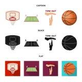 Bande dessinée de basket-ball et d'attributs, noir, icônes plates dans la collection d'ensemble pour la conception Vecteur de jou illustration libre de droits