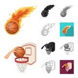 Bande dessinée de basket-ball et d'attributs, noir, plat, monochrome, icônes d'ensemble dans la collection d'ensemble pour la con illustration stock