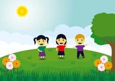 Bande dessinée de BotanKids en Sunny Background Photo libre de droits