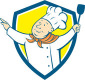 Bande dessinée de bouclier d'Arm Out Spatula de cuisinier de chef Illustration Stock
