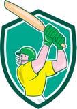 Bande dessinée de bouclier d'ouate en feuille de batteur de joueur de cricket Images stock
