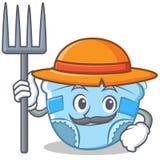 Bande dessinée de caractère de couche-culotte de bébé d'agriculteur Image libre de droits