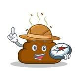 Bande dessinée de caractère d'émoticône de Poop d'explorateur illustration libre de droits