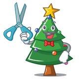 Bande dessinée de caractère d'arbre de Barber Christmas Images stock