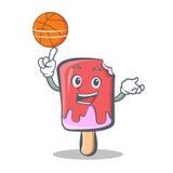 Bande dessinée de caractère de crème glacée de basket-ball Images libres de droits