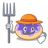 Bande dessinée de caractère de myrtille de beignet d'agriculteur illustration de vecteur
