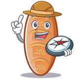 Bande dessinée de caractère de pain cuite au four par explorateur illustration stock