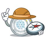 Bande dessinée de caractère de pièce de monnaie de Qtum d'explorateur illustration de vecteur