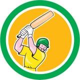 Bande dessinée de cercle d'ouate en feuille de batteur de joueur de cricket Image stock