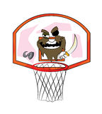 Bande dessinée de cercle de basket-ball de pirate Photographie stock libre de droits