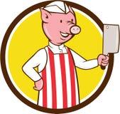 Bande dessinée de cercle de fendoir de Pig Holding Meat de boucher Image libre de droits