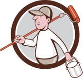 Bande dessinée de cercle de Paint Roller Can de peintre de Chambre Image libre de droits
