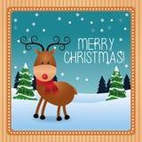 Bande dessinée de cerfs communs de conception de saison de Noël illustration libre de droits
