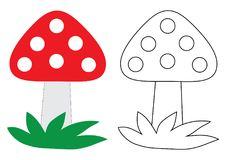 Bande dessinée de champignon d'agaric de mouche Livre de coloration Activité pour l'enfant Photo libre de droits