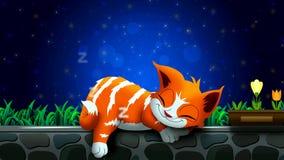 Bande dessinée de chat dormant sur le mur pendant la belle nuit de ciel, le meilleur fond de vidéo de boucle pour mettre un somme