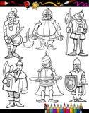 Bande dessinée de chevaliers réglée pour livre de coloriage Photographie stock libre de droits