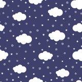 Bande dessinée de ciel nocturne avec des étoiles et des nuages Configuration sans joint mignonne illustration stock