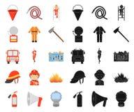 Bande dessinée de corps de sapeurs-pompiers, icônes noires dans la collection réglée pour la conception Sapeurs-pompiers et Web d illustration de vecteur