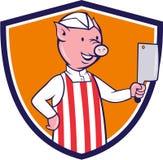 Bande dessinée de crête de fendoir de Pig Holding Meat de boucher Photographie stock libre de droits