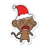 bande dessin?e de cri d'autocollant d'un singe utilisant le chapeau de Santa illustration stock