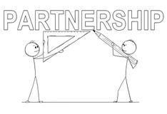Bande dessinée de deux hommes d'affaires tenant la règle de crayon et de triangle et écrivant le texte d'association photo stock