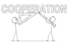 Bande dessinée de deux hommes d'affaires tenant la règle de crayon et de triangle et écrivant le texte de coopération images stock