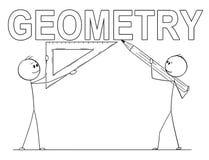 Bande dessinée de deux hommes tenant la règle de crayon et de triangle et écrivant le texte de la géométrie images stock