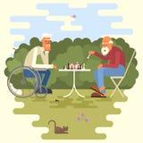 Bande dessinée de deux joueurs d'échecs illustration de vecteur