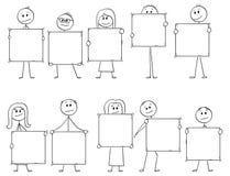 Bande dessinée de Dix hommes d'affaires et femmes d'affaires tenant les signes vides pour des lettres ou des nombres Photographie stock