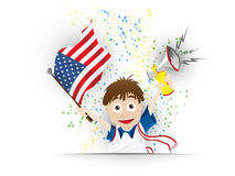 Bande dessinée de drapeau de fan de foot des Etats-Unis Photo libre de droits