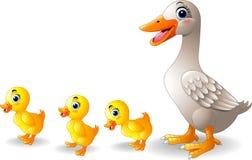 Bande dessinée de famille de canard de bande dessinée Images libres de droits