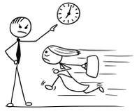 Bande dessinée de femme fonctionnant tard pour le travail et son patron Pointing à photographie stock libre de droits