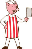 Bande dessinée de fendoir de Pig Holding Meat de boucher Images libres de droits