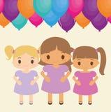 Bande dessinée de fille et conception de joyeux anniversaire Photo libre de droits