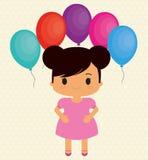 Bande dessinée de fille et conception de joyeux anniversaire Images stock