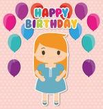 Bande dessinée de fille et conception de joyeux anniversaire Images libres de droits