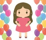 Bande dessinée de fille et conception de joyeux anniversaire Photographie stock