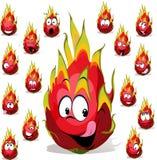 Bande dessinée de fruit du dragon avec beaucoup d'expressions du visage Images stock