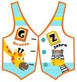 Bande dessinée de girafe et de zèbre sur le modèle de gilet illustration libre de droits