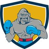 Bande dessinée de Gorilla Boxer Boxing Stance Crest illustration stock