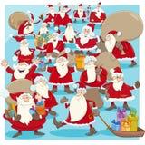 Bande dessinée de groupe du père noël de Noël Image stock