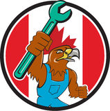 Bande dessinée de Hawk Mechanic Spanner Canada Flag Images libres de droits