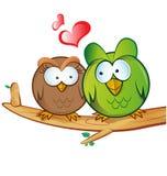 Bande dessinée de hibou dans l'amour Image libre de droits