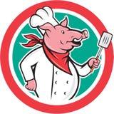 Bande dessinée de Holding Spatula Circle de cuisinier de chef de porc Photo libre de droits